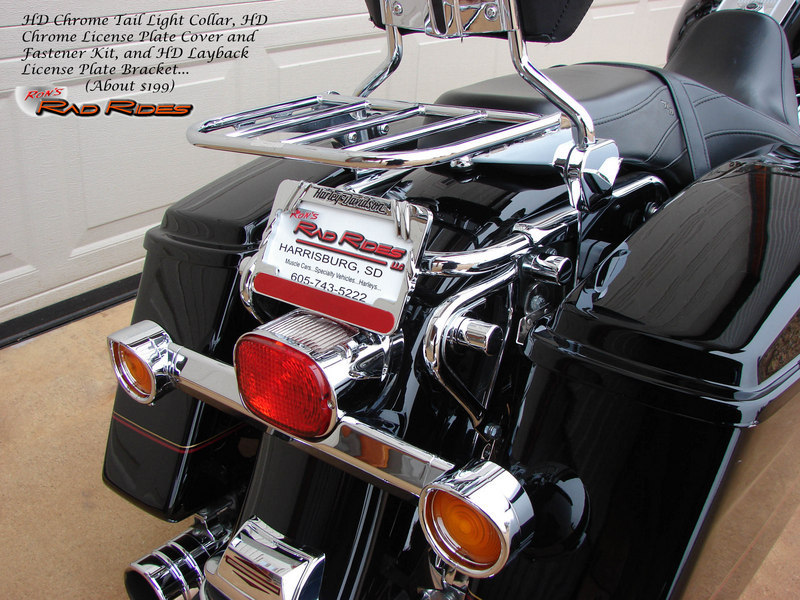 Chrome Layback License Plate Bracket Mounting Kit For Harley-Davidson Road King